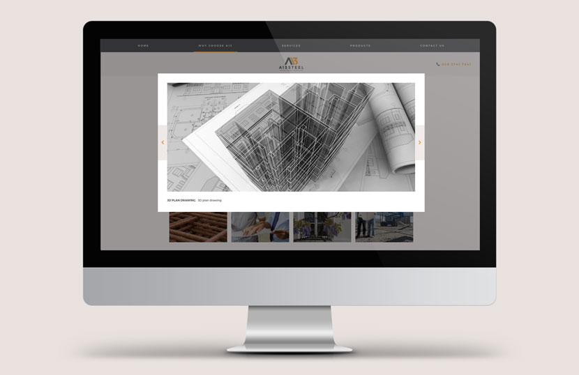 Desktop view showing the features of the A13 Steel website