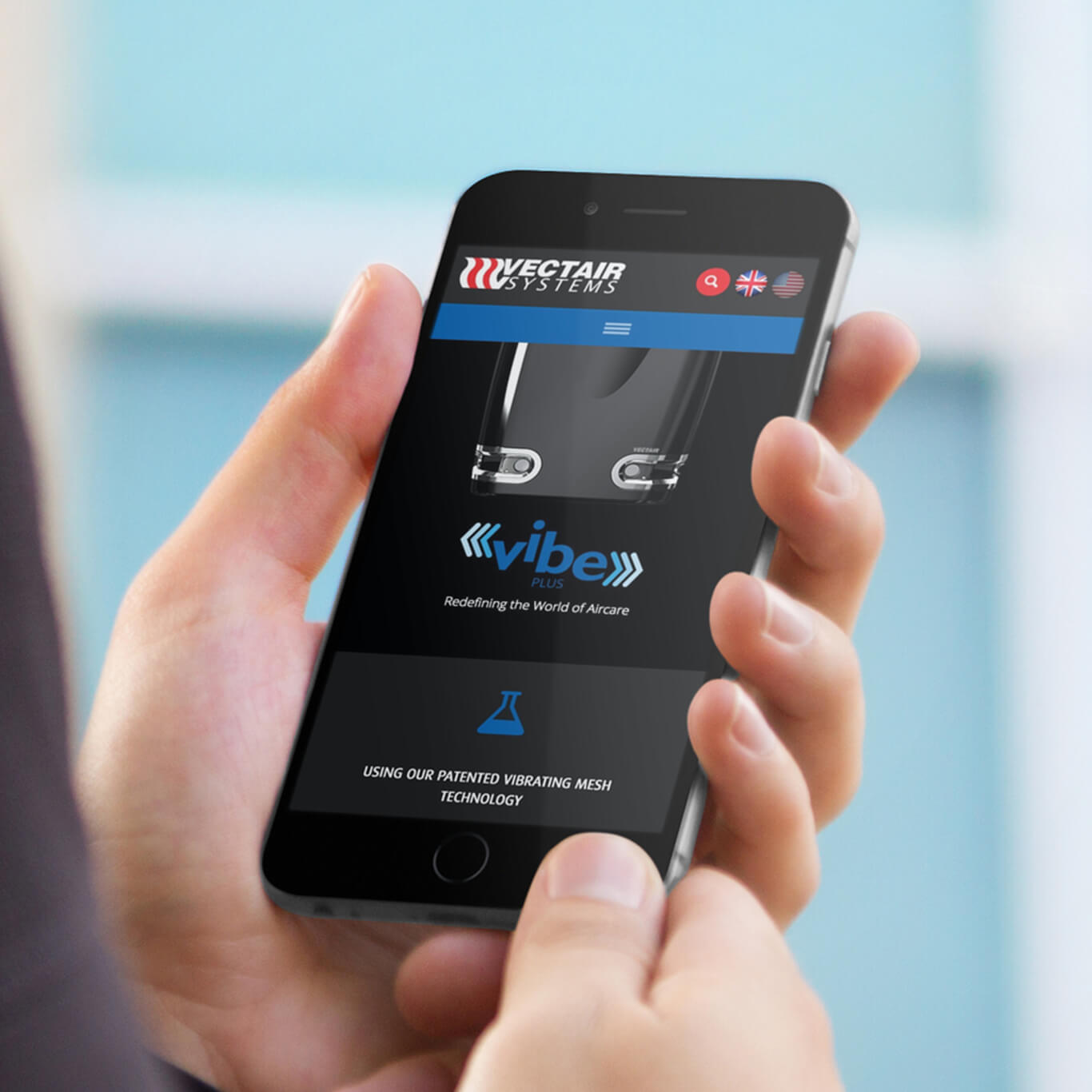 New Vectair VIBE Microsite hompepage on mobile device