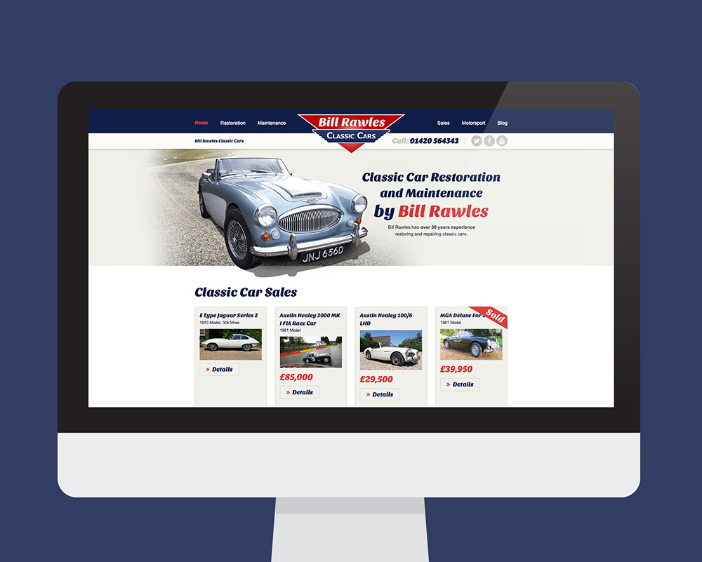 Bill Rawles Classic Cars website shown on a desktop