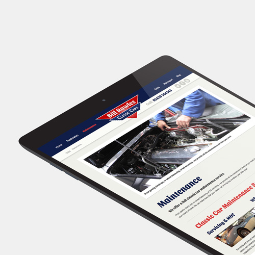 Bill Rawles Classic Cars website shown on a tablet