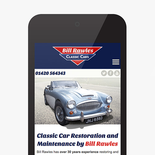 Bill Rawles Classic Cars website shown on a smartphone