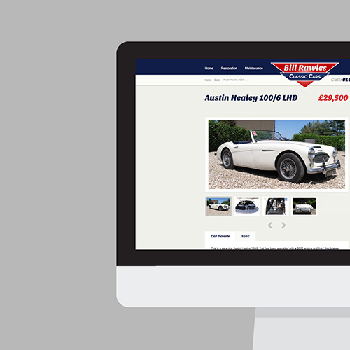 Bill Rawles Classic Cars website shown on a desktop screen