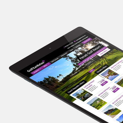Golf Eat Relax website shown on a tablet