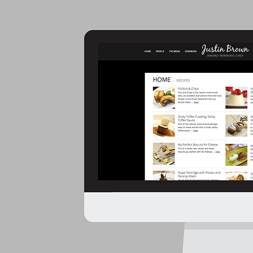 Justin Brown Chef website shown on a desktop screen