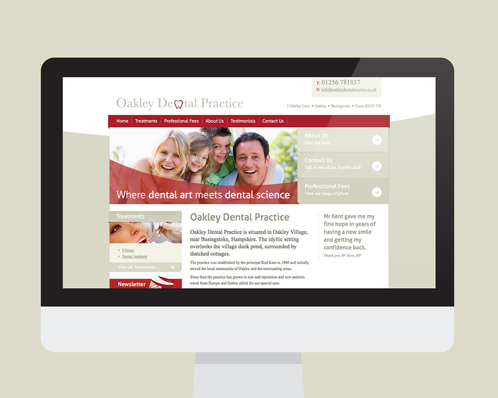 Oakley Dental Practice website shown on a desktop