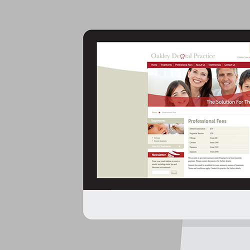 Oakley Dental Practice website shown on a desktop screen