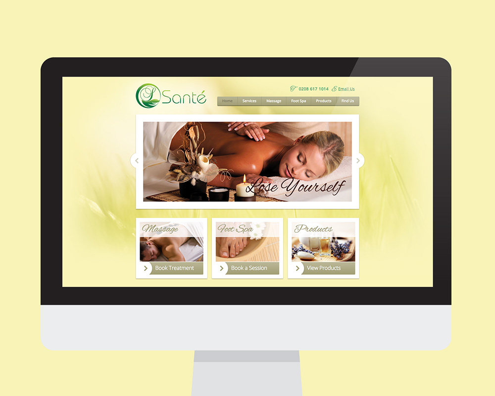 Sante Massage website shown on a desktop