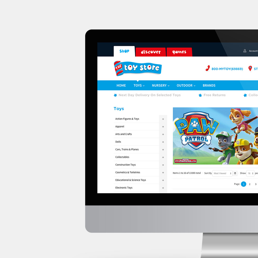 The Toy Store ecommerce website shown on desktop