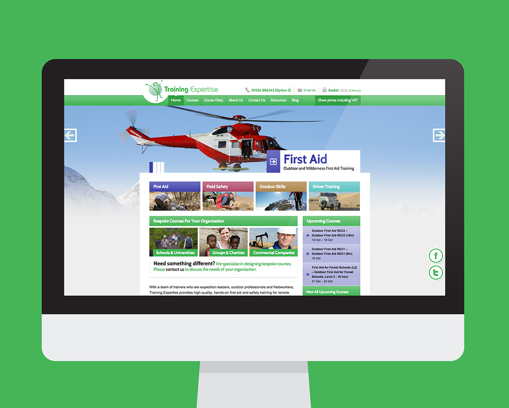 Training Expertise website shown on a desktop