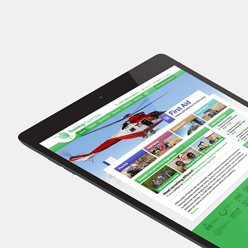 Training Expertise website shown on a tablet