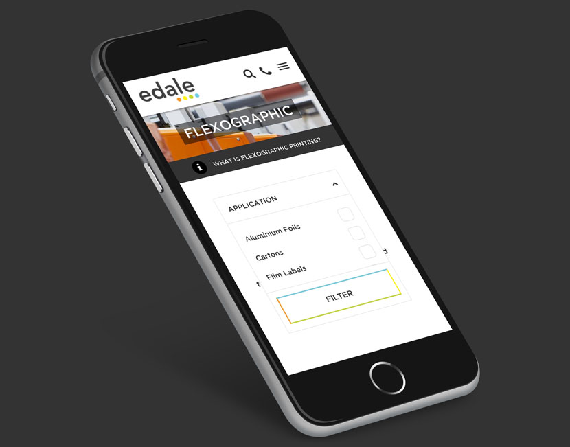 Mobile device tilted displaying the Edale website homepage